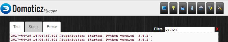 Domoticz : python fonctionnel