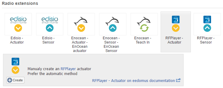 RFPlayer eedomus Actuator manual creation