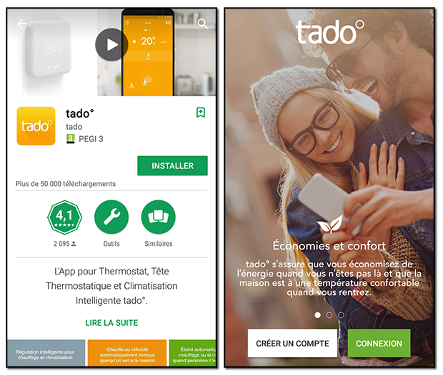Application Tado° sur Android