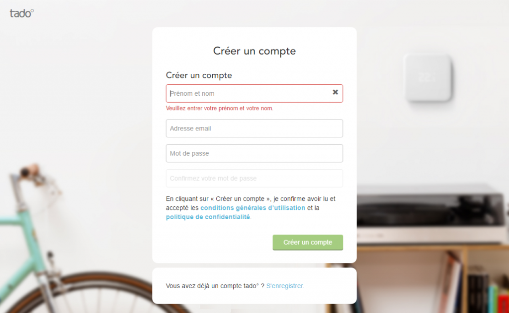 Enregistrement du thermostat sur le site de Tado°