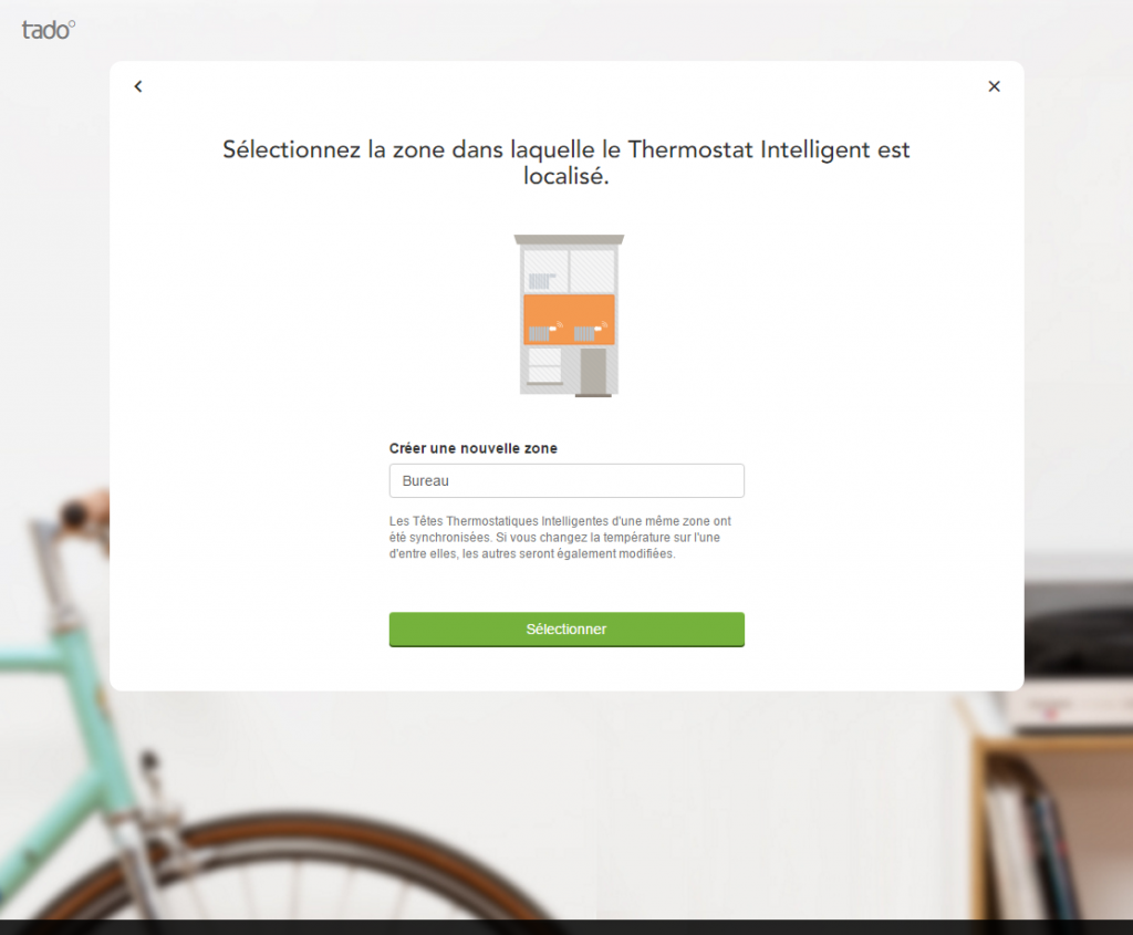 Interface web de Tado° : créer une salle