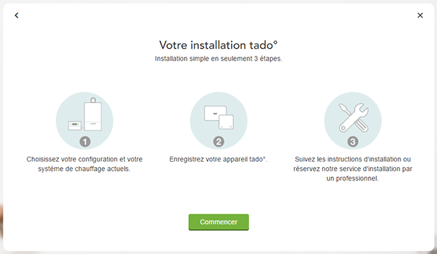 Étapes d'installation du thermostat intelligent Tado°