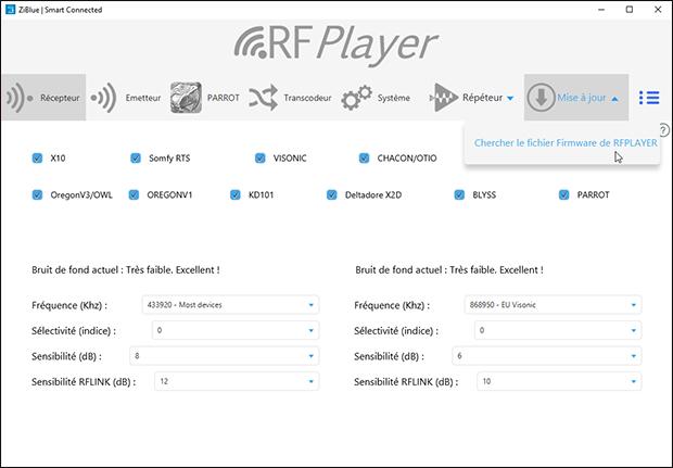 Utilitaire du RFPlayer : sélectionner une mise à jour