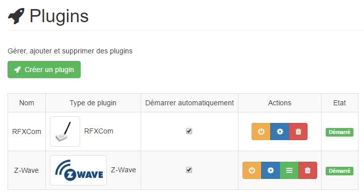 Listing des plugins dans Yadoms : RFXCom, Z-Wave