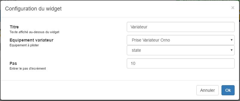 Yadoms : ajout d'un widget variateur