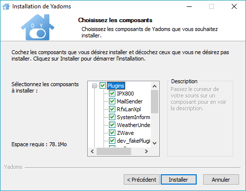 Yadoms - options d'installation