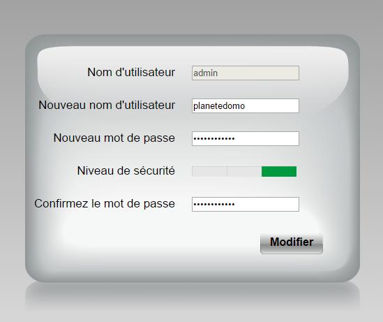 Changement de mot de passe de la caméra IP Orno
