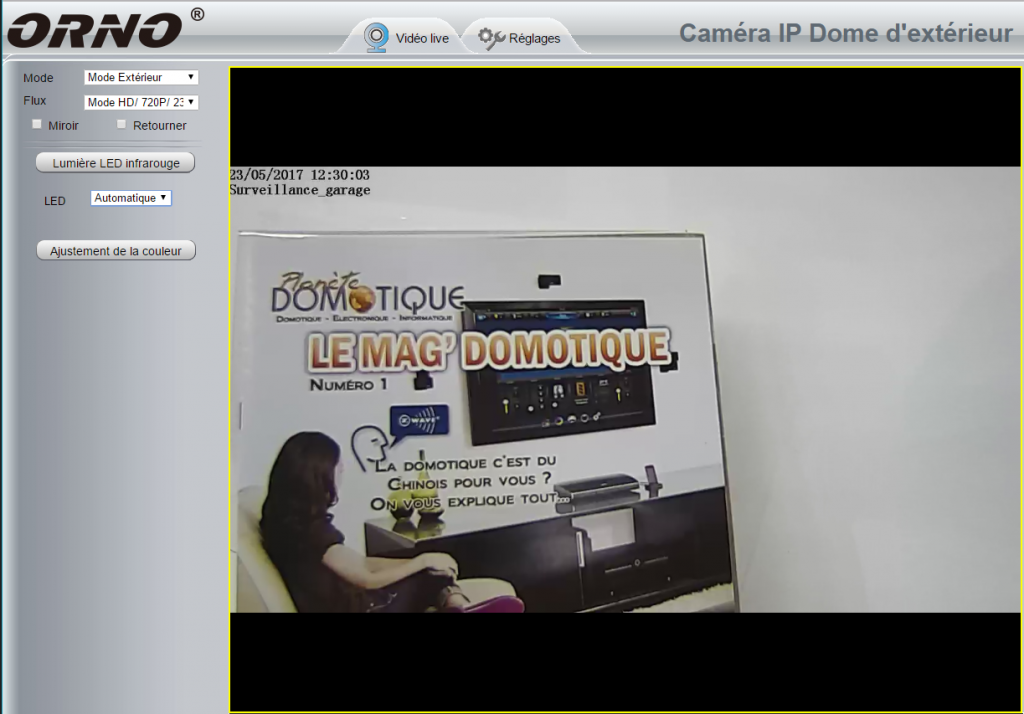 Visualisation via navigateur de la caméra IP Orno