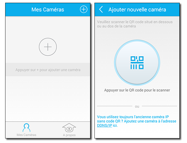 Application Caméra IP Orno : ajout / QR Code
