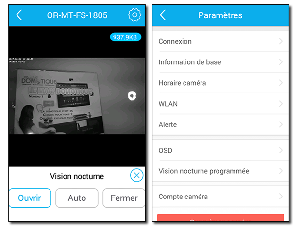 Caméra IP Orno : commandes directe depuis l'application