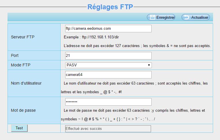 Caméra IP : réglage sur le FTP