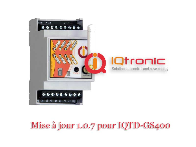 Mise à jour firmware 1.0.7 pour IQTD-GS400 de IQtronic