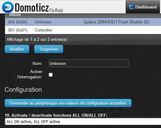 Configuration des paramètres d'un module Zwave avec Domoticz