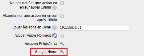 Paramètre pour Google Home