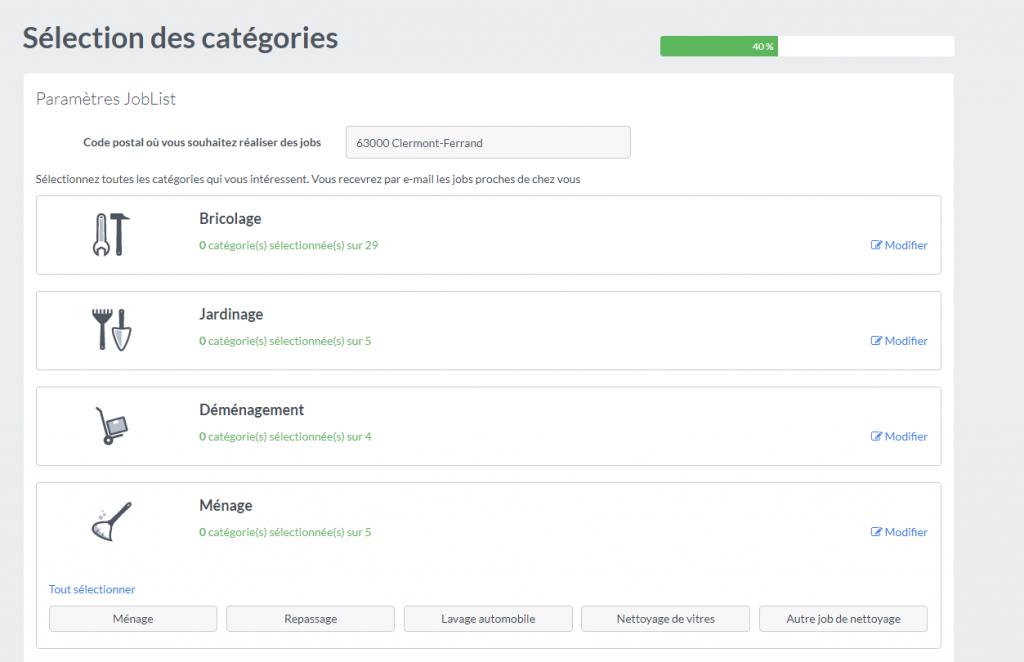 Choix des catégories