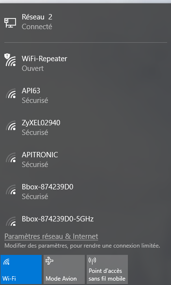 Onglet réseau