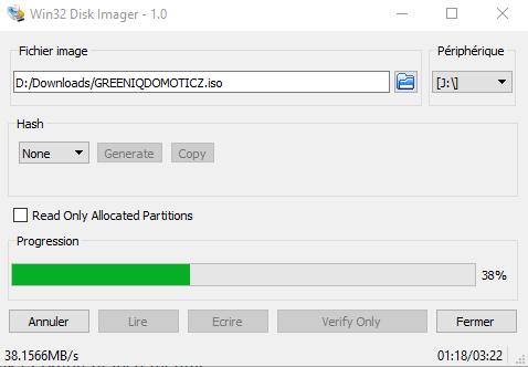 Copie de l'image sur la micro SD