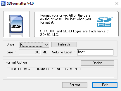 Formatage de la micro SD