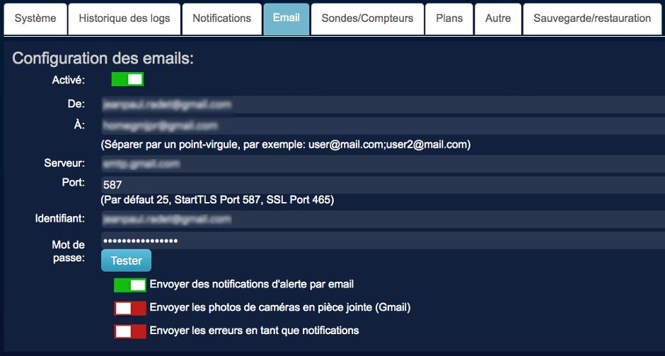 Configuration SMTP