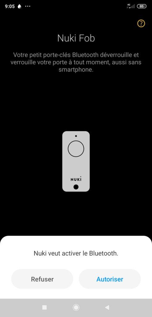 Interface Application pour Nuki Fob