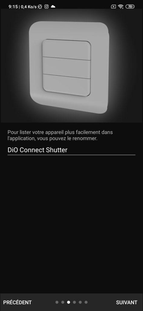 Interface application DiO Rev Shutter pièce