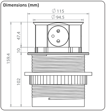 Dimensions du bloc escamotable 4 prises.