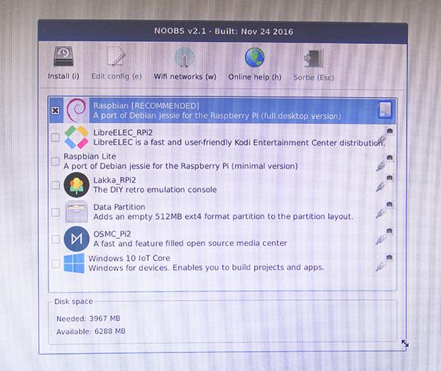 Configuration de NOOBS sur Raspberry Pi
