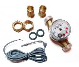 Compteur d'eau chaude avec sortie impulsion (1 imp. / 0.25 litre).