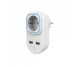 Prise ON/OFF Z-Wave+ avec mesure de consommation et sorties USB - HANK