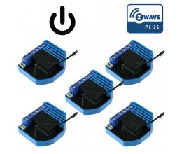 Pack de 5 modules encastrables 1 relai Z-Wave Plus - QUBINO