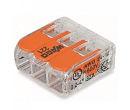 Bornier de raccordement rapide avec levier (3 bornes) - WAGO