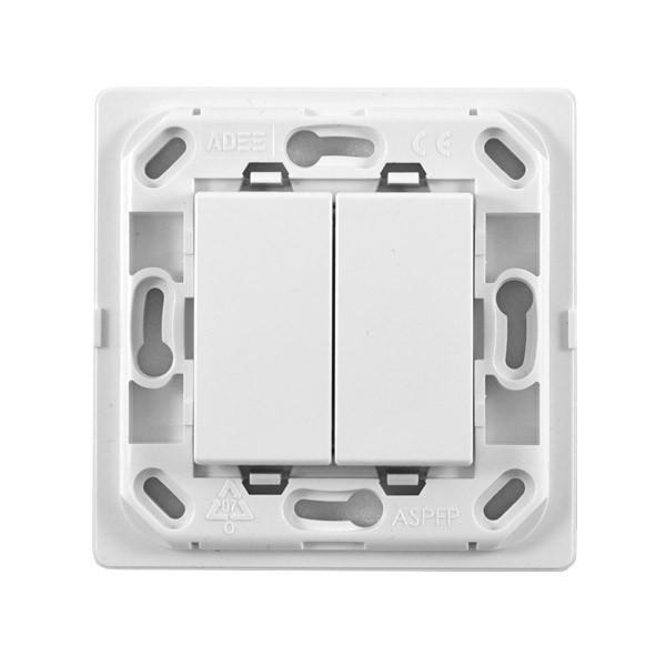interrupteur 2 touches sans fil sans plaque support blanc. Black Bedroom Furniture Sets. Home Design Ideas