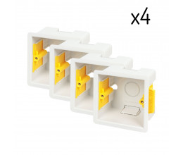 Lot de quatre boîtes d'encastrement carrées 47 mm blanches - Appleby