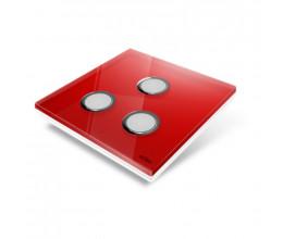 Interrupteur sans fil Edisio modèle Diamond Rouge 3 touches avec base Blanche