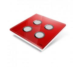 Interrupteur sans fil Edisio modèle Diamond Rouge 4 touches avec base Blanche