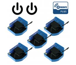 Pack de 5 modules 2 relais Z-Wave Plus encastrable - QUBINO
