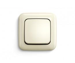Cadre et bouton unique finition BJ creme pour interrupteur mural sans fil