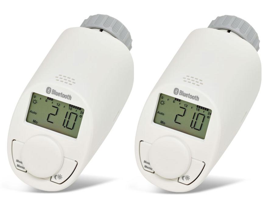 pack de 2 t tes thermostatiques pour radiateur avec bluetooth eq 3. Black Bedroom Furniture Sets. Home Design Ideas
